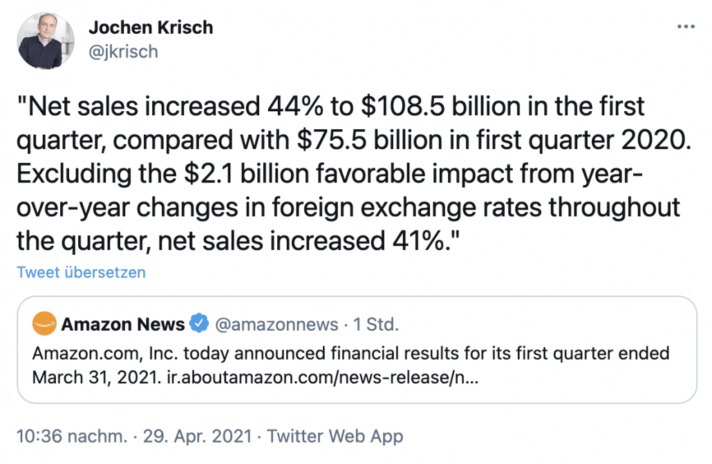 Amazon Quartalszahlen Q1 2021